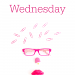 Pink face from office supplies. Text overlay reads: Whatever Wednesday