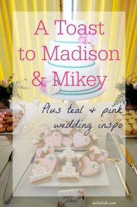 Gorgeous wedding photos with a teal, pink, and gold color scheme | Belle Brita