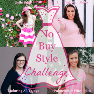 Square graphic featuring four white women with a transparent dress-shaped overlay. Text overlay reads: No Buy Style Challenge
