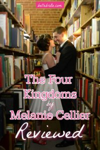 """Image of bridal couple in a bookstore. Text overlay reads: """"The Four Kingdoms by Melanie Cellier Reviewed"""""""