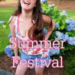 Photo of white woman in a floral tank. Text overlay reads: Summer Festival Style