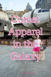"""White woman at Galaxy's Edge. Text overlay reads: """"Cutest Apparel in the Galaxy"""""""